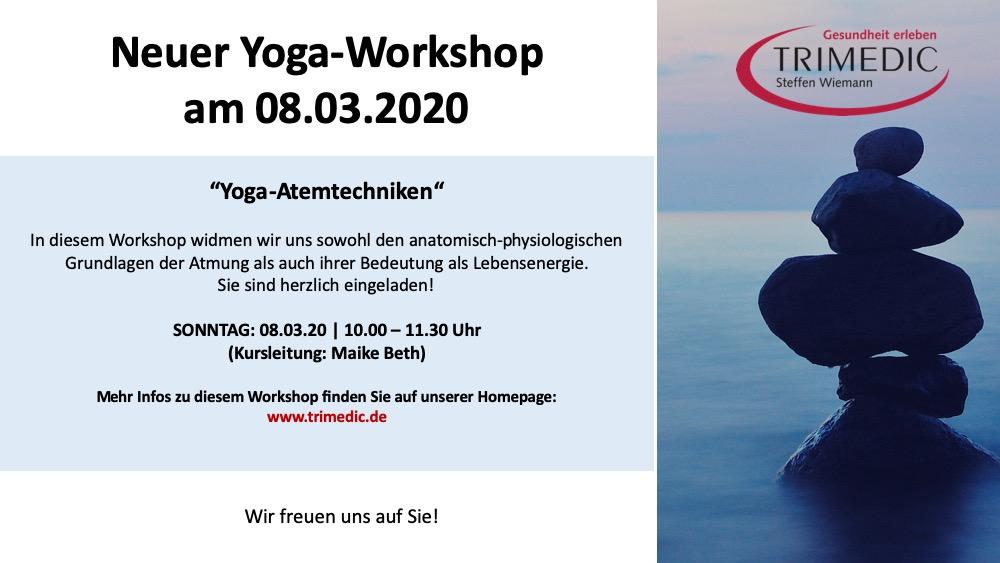 Neuer Yoga-Workshop am Sonntag, den 08.03.2020 – 10.00 Uhr